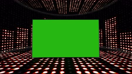 evangélium : Music Waves Room and Green Screen Monitor, Lights Bulb Animation, Rendering, Background, Loop, 4k
