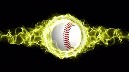orbe : Baseball Ball in Yellow Flames Abstract Particles Ring, Animation, Background, Rendering, Fiery, Fire, Loop, 4k Stock Footage