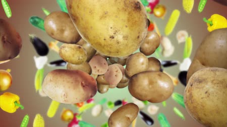 hlíza : Falling Potato Background, Animation, Rendering, with Alpha Channel