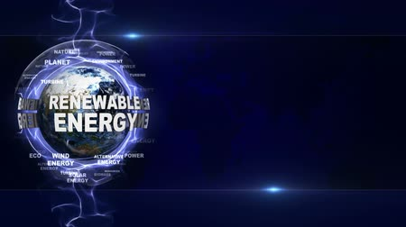 geotermální : RENEWABLE ENERGY Text Animation Around Earth, Rendering, Background, Loop