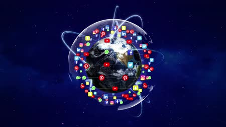 hashtag : Earth and SOCIAL LOGO Logos Around, Zoom IN  Zoom Out, Connection Network, Animation, Rendering, Background, Loop