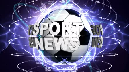 beisebol : SPORTS NEWS Text Animation Around Sports Balls, Rendering, Background, Loop Stock Footage