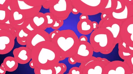 kettyenés : Falling Hearts Emoji Signs Animation, Social Network, Rendering, Background, with Alpha Channel Stock mozgókép