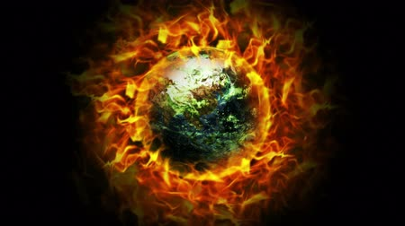 Океания : Fiery Earth and Flames Animation, Pollution Concept, Rendering, Background, Loop