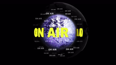 ON AIR Text Animation Around the Earth Disco Ball, Rendering, Background, Loop Wideo