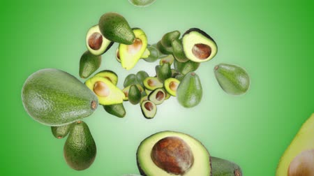 Falling AVOCADOS Background, Loop, Animation, Rendering, with Alpha Channel