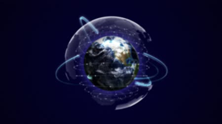 Earth, Connection Network Concept, Zoom In  Zoom Out, Animation, Rendering, Background, Loop.
