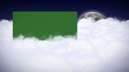 Clouds and Moon Animation, Rendering, Background with Green Screen Monitor, Loop Wideo