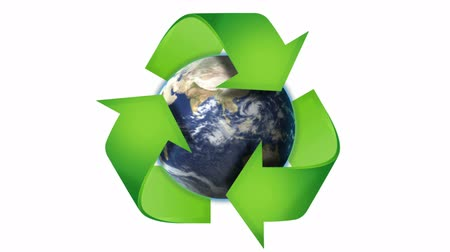 RECYCLE Symbol and Earth, Nature Concept in Book S Pages, with Blue Screen, Loop Wideo