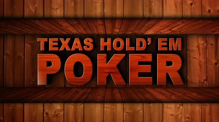 floş : TEXAS HOLD EM POKER Text Animation in Wood Gate and Slot Machine Combination, Background, Rendering, Loop