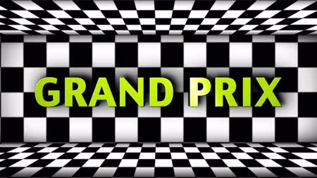 countdown leader : GRAND PRIX, RACING, WINNER, Empty Green Screen and Countdown Animation in Checker Door, Loop. Stock Footage