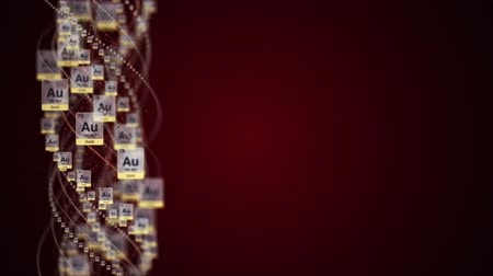 GOLD Chemical Symbol, AU, Period Table, Animation, Background, Rendering, Loop. Wideo