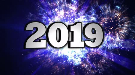 yeni : 2019 New Year Animation Text, Background, Rendering, Loop. Stok Video