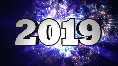 time year : 2019 New Year Animation Text, Background, Rendering, Loop