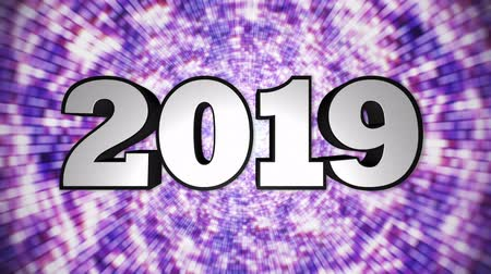 2019 New Year Animation Text, Background, Rendering, Loop. Wideo