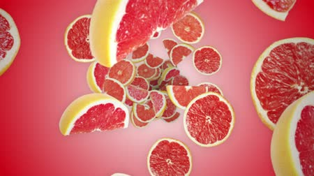 grejpfrut : Falling GRAPEFRUITS Animation, Fruits, Rendering, Background, Loop, with Alpha Channel, 4k Wideo