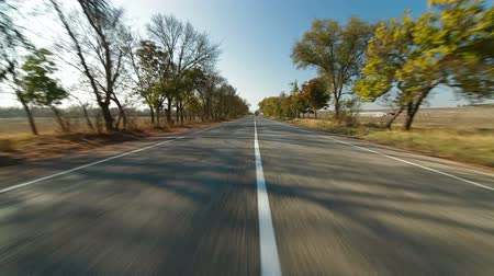 asphalt road : driving along  country road in autumn