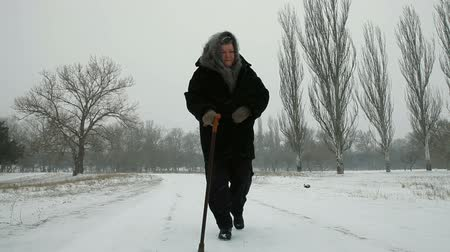 perdido : Old Woman Walking In Winter Vídeos