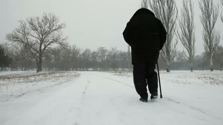 unrecognizable people : Senior Woman Walking Out in Blizzard