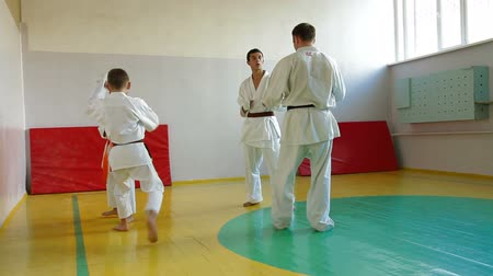 каратэ : Martial arts instructor training  students