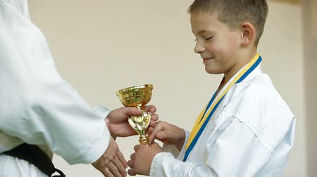 trofej : boy receive karate trophy and medal for the victory