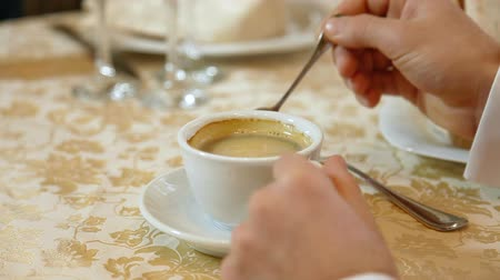 meal : man drinking coffee in a restaurant or cafe Stock Footage
