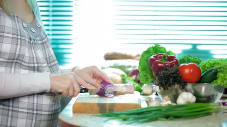 food preparation : Food Preparation - cutting a Red Onion