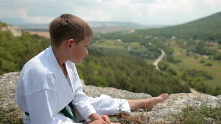 sztuki walki : boy in a kimono sits resting on the edge of the cliff