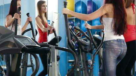 tornaterem : Two Young Women Exercising In The Gym On Cross Trainer