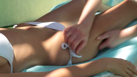 massages : Woman Getting a Legs Massage at Spa Resort Stock Footage