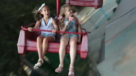 Children in the Amusement Park Stock Footage