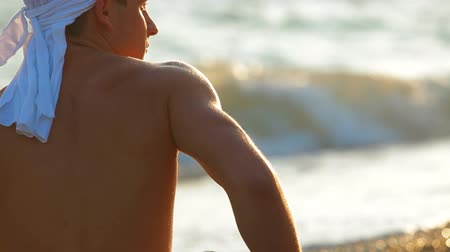male : Young Man on Summer Beach Stock Footage