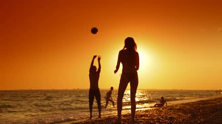 volleyball : Summer Beach Fun at Sunset