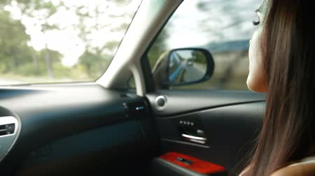 Young Woman Inside Car Stock Footage
