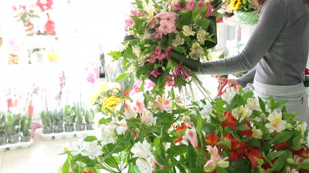 alstroemeria : Florist Working In Flower Shop