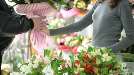 alstroemeria : Client Shopping In Florist Shop Stock Footage