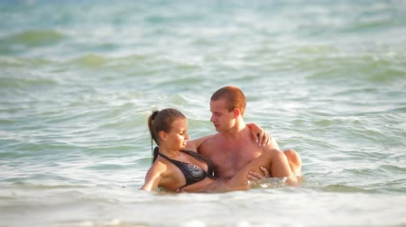 girl : Teenage Couple Summer Beach Vacation Stock Footage