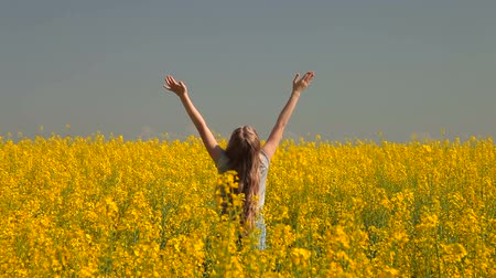 prado : Little Girl Enjoying The Summer In Yellow Meadow Vídeos