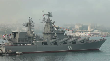 donanma : Moored missile cruiser Moscow. Celebration of the 230th anniversary of the Russian Black Sea Fleet in Sevastopol