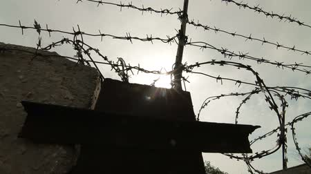 farpado : Barbed wire and concrete fence. Pan shot Stock Footage