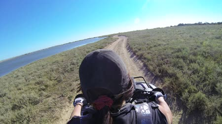 quadbike : Female rider driving quad bike POV, GoPro Hero3 BE   Stock Footage