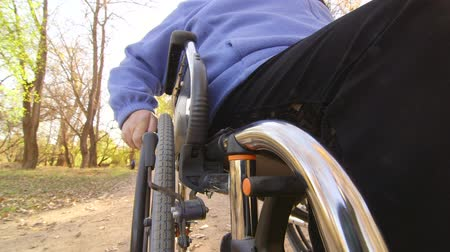 toló : Disabled senior person turning wheels of wheelchair Stock mozgókép