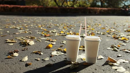 gyalogút : Two paper coffee cups on a footpath in autumn park