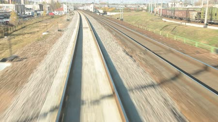 транзит : Railroad track at high speed POV