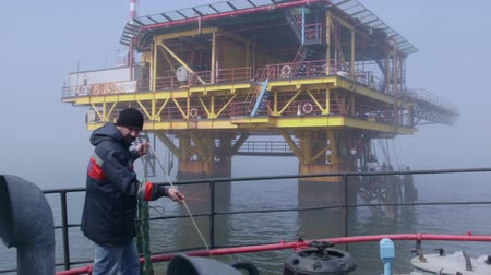 ipari : Sea of Azov, Crimea - March 28, 2014: Offshore gas production platform in the East-Kazantip field Stock mozgókép