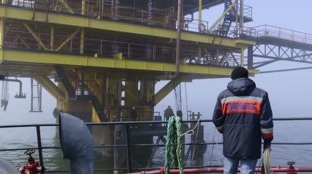benzin : Sea of Azov, Crimea - March 28, 2014: Offshore gas production platform in the East-Kazantip field Stok Video