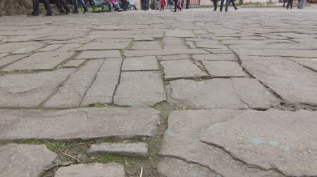 tatar : Ancient cobblestone pavement in old town dolly shot Wideo