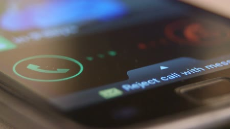 Incoming call request on smart phone display Stock Footage