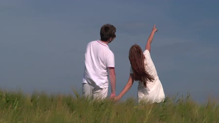 terep : Young couple holding hands in wheat field looking at the sky, rear view