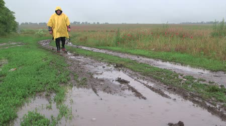 bahno : Man walking on muddy dirt road with puddles through the field in rain